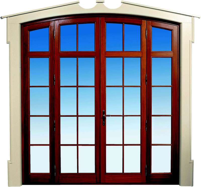 Big wooden door with large frame and windows
